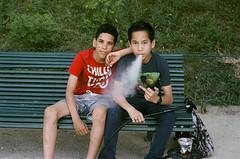 les beaux gosses (gguillaumee) Tags: film analog grain leica leicam7 fujisuperia fujifilm color colorfilm kids smoking paris posing brats teenagers streetphotography