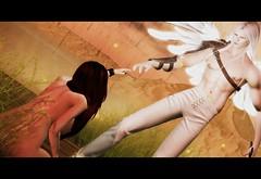 Fallen Eden  (Cinema) (Beowulf Morgwain) Tags: sl second life secondlife angel dutch tilt biblical fantasy mystic scenary roleplay amazing exotic sephiroth wings supernatural eden paradis bible genesis adam eve dark
