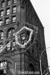 NYC, NY.  Puck Building 295 Lafayette St. The Feast of San Gennaro Festival 1976. (Jack Falat) Tags: store shop cafe jack falat jackfalatcom midtown new york city monochrome manhattan nyc 1970s restaurant bar tavern gill mill peep show porno sex theater theatre movie square street life massage pallor working walkers girls prostitutes whores broadway row com jackfalat carolina south island 7th ave christopher street–sheridan huntington beach murrells inlet pawleys georgetown sc litchfield grand strand myrtle