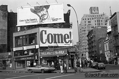 NYC, NY.  Come Rush! To The Man's Country Billboard. Greenwich Village Cigars. 110 7th. Ave. South. (Jack Falat) Tags: store shop cafe jack falat jackfalatcom midtown new york city monochrome manhattan nyc 1970s restaurant bar tavern gill mill peep show porno sex theater theatre movie square street life massage pallor working walkers girls prostitutes whores broadway row com jackfalat carolina south island 7th ave christopher street–sheridan huntington beach murrells inlet pawleys georgetown sc litchfield grand strand myrtle