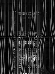 Wavy Reflection (Nick Condon) Tags: abstract architecture blackandwhite ginza japan light night olympus75mm olympusem10 reflection tokyo wavy window