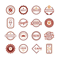 Collection of logo and badge vectors (Muhammed Abdullwahab) Tags: 24hours ads advertisement badge bakery barbershop bicycleshop branding butchery cafe circle coffeeshop collection decoration design element emblem florist flowershop food gasoline graphic group guarantee homemade icecream icon illustrated illustration isolatedonwhite label logo mixed open quality red restaurant seal service set shape shop square stamp star sticker template vector whitebackground