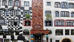 Hundertwasser School Wittenberg (2) (roberke) Tags: architecture architectuur artist kunstenaar hundertwasser school gebouw gymnasium windows ramen vensters door deur gevel facade wittenberg germany duitsland trees bomen