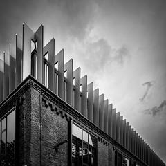 Couronnement (CrËOS Photographie) Tags: france lille city urban blackandwhite bw monochrome metal architecture modern design noiretblanc bricks moderne ville métal briques urbain repetitive répétition