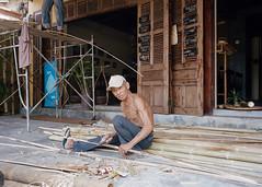 Bamboo Work (Tim Roper) Tags: hoian leica vietnam film portra400 kodak portra elmarit 28mm bamboo portrait