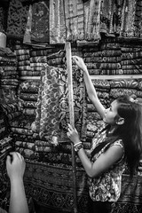 Sukawati market, Bali, Indonesia (pas le matin) Tags: bw nb noiretblanc blackandwhite monochrome travel voyage world indonésie indonesia asia asie southeastasia market marché sukawati bali woman femme candid clothes vêtements pasarsenisukawati sukawatinmarket 7d canon canon7d canoneos7d eos7d