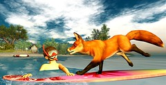 Surfing fox just wants to have fun! (mikebastlir) Tags: secondlife virtual world summer fun surfing water sea boy childhood animal fox friendship