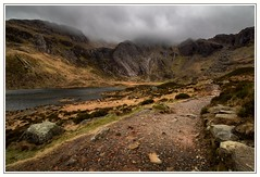 Dark Days (Nicks-2017) Tags: canon eos 1300d wales cymru idwal ogwen snowdonia outdoors nature nt nationaltrust rocks mountains lake llyn landscape northwales outside water sky clouds moody light