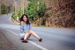 sitting in the street (ChalidaTour) Tags: thailand thai asia asian girl femme fils chica nina teen twen portrait sweet cute petite slender slim legs feet toes street mountains