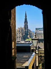 Framed, Edinburgh, UK (Robby Virus) Tags: edinburgh scotland uk unitedkingdom britain greatbritain gb steeple church view door doorway