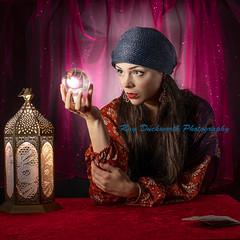 The Fortune Teller (rayduckworth) Tags: portrait lantern crystalball globe playingcards outfit costume lighting flash homestudioshoot