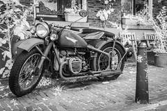 Vintage motorbike. (PeteMartin) Tags: bw harley infrared motor motorbike sidecar urban vintage amsterdam netherlands