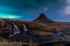 Kirkjufell Mountain at night with northern lights - Iceland Winter (marcel.weber89) Tags: landscape mountain nature sky blue mountains travel clouds volcano iceland cloud island water rock wild outdoors scenic beautiful outdoor road europe waterfall night stars nightsky aurora northernlights river snaefellsnes sea scenery winter atlantic stream light green icelandic nordic north dark landscapephotography photgraphy traveling view hill