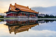 Taipei National Concert Hall (Frederik Morbe) Tags: water reflecting reflection taipei taiwan china chinese asia asian building architecture puddle sunrise sunset chiang kai shek liberty free dom square travel destination landmark sightseeing famous mirror scenic perspective 臺灣 臺北