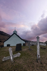The curch of Saksun during sunrise - Faroe Islands - Winter (marcel.weber89) Tags: faroeislands mountain sky mountains water lake nature clouds cloud blue river travel sea iceland scenery view rock rocks coast grass tourism winter peak valley bay saksun rural old village town atlantic ocean sunset architecture dawn cloudy hiking outdoor traveling vacation grave graveyard cemetery church