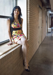 Yellow Bodycon 3 (Hannah McKnight) Tags: tgirl transgender transgirl model stilettos stockings dress crossdress bodycon