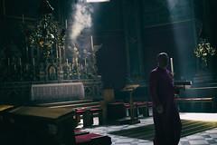 Light and darkness (Roberto Spagnoli) Tags: religion light priest incense color altar rayoflight people church catholic gospel smoke dark alone