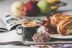 Enjoy a cup of espresso (Chapter2 Studio) Tags: lifestyle stilllife breakfastinbed bakery fruits magazines coffee espresso sonya7ii sony90mmf28 naturelight flower enjoy lifeisbeautiful