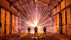 A warm welcome (palateth) Tags: lightpainting lightart night nophotoshop singleexposure urbex abandonnedplace backlight fireworks guests