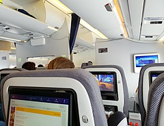 Lufthansa Premium Economy Class (walneylad) Tags: lufthansa airline munich germany premiumeconomy seating class airplane aircraft interior 2x3x2 cabin passengers airliner plane screens seatback airbus