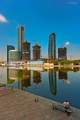 _MG_9386-2 (Mikhail Lukyanov) Tags: russia moscow construction skyscrapers city street summer river sky morning man architecture modern outside
