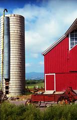 Farming Color (david slauson) Tags: farm red barn silo traditional color film olympus om4 om ranch colorful clouds sky colorado