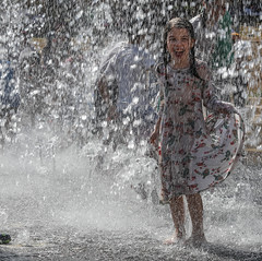 fountain drops keep falling on my head (ybiberman) Tags: israel jerusalem teddykollekpark people portrait candid streetphotography documentary laughing joy smile wet dress summer fountain waterjets girl