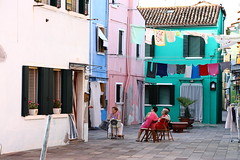 carpe diem (°andre²a°) Tags: canon canoneosr city italy burano house people green pink blue street colorful
