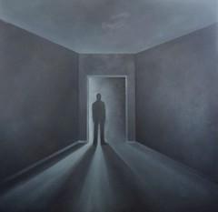 Mystery Room II (Olle Gudbrand) Tags: painting art oiloncanvas ollegudbrand oilpainting dreamy dark mystery enigmatic contemporaryart canvas indieart haunting silhouette figure shadows door doorway room interior personstanding mysteryroom