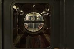 Subway Car Detail (PAJ880) Tags: vintage subway cars porthole window seats nyc transit museum brooklyn mta court st