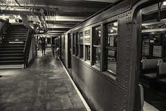 Antique Subway Cars (PAJ880) Tags: nyc transit museum brooklyn mta vintage cars platform stairs bw mono windows doors court st