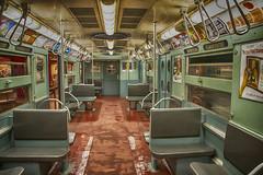 1960s Subway Car Interior (PAJ880) Tags: vintage subway car ads seats porthole windows doors nyc transit museum brooklyn mta court st