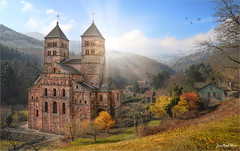 Twin towers (Jean-Michel Priaux) Tags: paysage nature landscape mulhouse colmar alsace france tower twin abbey church patrimony hdr colors priaux murbach architecture medieval gothic autumn paint painting sunset sun vosges mountain guebwiller thann