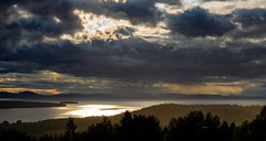 Lake Siljan, July 15, 2019 (Ulf Bodin) Tags: sverige landscape siljan sweden outdoor lake rays moln summer plintsberg canonef100400mmf4556lisiiusm cloud sky dalarna canoneosr sjö panorama dalarnaslän
