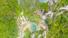 Waterfalls at Plitvica stream in Croatia, a view from above