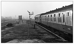 M4862 (david.hayes77) Tags: wellingborough ilfordfp4 monochrome blackandwhite bw class45 peak sulzer winter frost 1976 northants northamptonshire tsbg wellingborojunctionsignalbox semaphores mark1 m4862 carriage coach backlit contrejour mml midlandmainline midlandrailway tso touristsecondopen mist