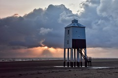 The little Lighthouse (Nige H (Thanks for 25m views)) Tags: nature landscape sea seascape beach sunset sky clouds lighthouse somerset england burnhamonsea