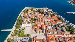 Roman Forum in Zadar, Croatia with a view to The Greeting to the Sun