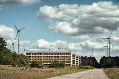 Blocks in the Wind (Ralph Graef) Tags: plattenbau prefab abandoned urbex decay dilapidated disused derelicted desolation dystopia tristesse urben summer windmill windenergy clouds