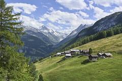 Village d'Arbey, Val d'Hérens (Karl Le Gros) Tags: 2019 aiguillesdeveisivi cantonduvalais dentblanche mountains panorama swissalps switzerland valdhérens valley villagedarbey xaviervonerlach clouds landscape