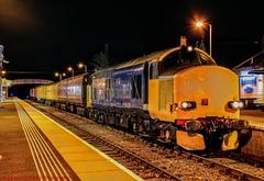 37610 @ Dingwall (A J transport) Tags: class37 locomotive ultrasonic diesel railway trains networkrail br blue dingwall train track inspection drs nikkon dlsr d5300 night 37610 station railways scotland