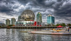 When the mood strikes (Christie : Colour & Light Collection) Tags: hdr expo86 falsecreek telusworldofscience moody mood dramatic cloudy clouds sky geodesicdome expo ball expo86centre expo worldexpo dome scienceworld vancouver bc canada britishcolumbia worldsfair cityofvancouver building 1986 1985 omimax theatre nikon nikkor water dragonboat dock pier wharf oceanfront happyfencefriday hff outside outdoors kayak buildings mainstreet reflections waterreflections artistic stormy storm flickr