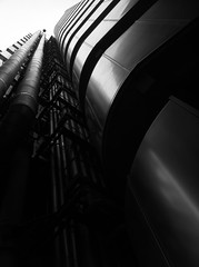IMG_7565 Lloyds Building beautiful in black copy (John Wilder Photography) Tags: architecture modernarchitecture hitech lloyds building bw cityoflondon london iphone4 monochrome stair