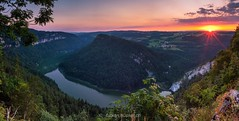 panoramic sunset (fabian.huesser) Tags: landscape nature night panorama summer sunset wallpaper panoramic panorma sonnenuntergang lake river hill mountain