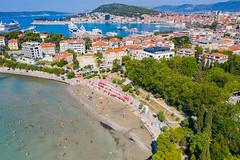 Luftbild von der Bucht Bacvice in Split, Kroatien