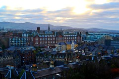 Urban colour (Christina 25) Tags: city urban outdoors view edinburgh scotland unitedkingdom uk nikon nikond3100 digital photography buildings houses sky sun architecture traditional travel windows rooftops roofs tourism tourist afternoon winter structure geometrical colours colourful homes stone chimneys towers tiles bricks georgianstyle design cloudy clouds mountains trees modernarchitecture