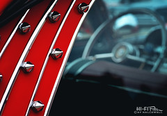 Bedazzled Old Ford (Hi-Fi Fotos) Tags: chrome spike decoration bling vintage ford custom red kustom edgy diy stud steeringwheel nikkor 50mm nikon d7200 dx hififotos hallewell