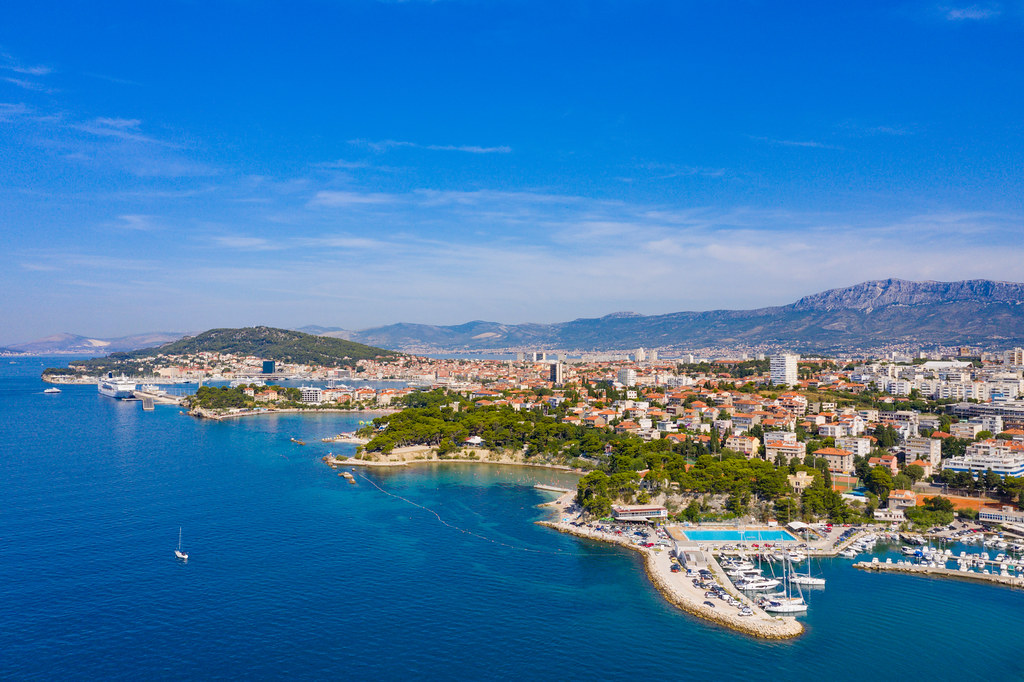 Firule Beach and Bacvice Beach with the Port of Split in the background, Croatia