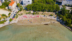 Aerial view of Bacvice Beach in Split, Croatia