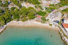 Aerial view of the beach Porat on Bisevo island in Croatia